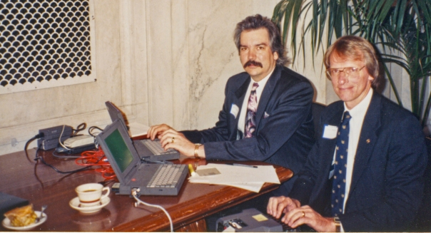 Jack Boenau (on the right) and I hoping that our power suits and 90s haircuts will keep that cutting-edge technology working. The tea and apple pie was to keep us working.