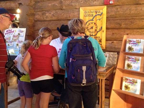 Signing at the Old Faithful Inn in 2013