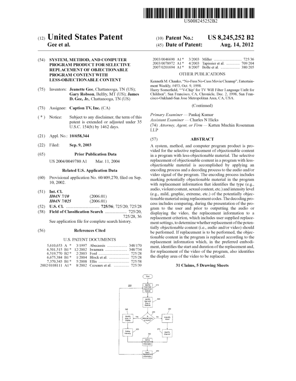 Cover of patent #8,245,252