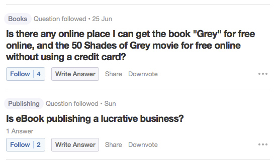 Quora questions screen capture