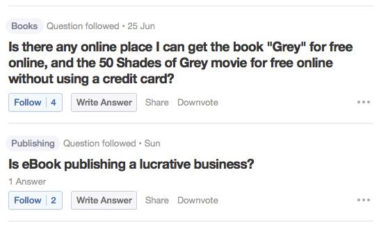 Quora questions screen capture