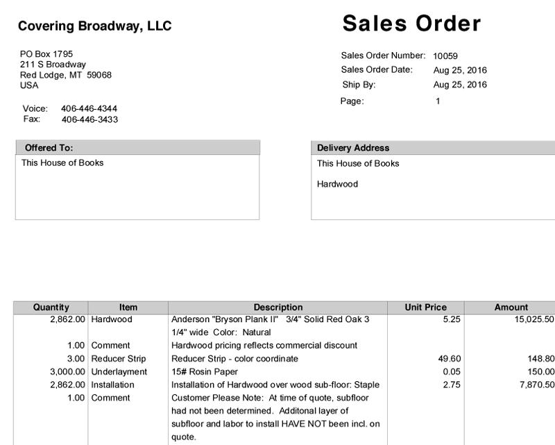 Flooring order 2016-08-25
