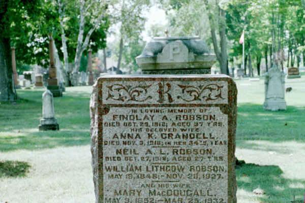 Robson headstone 2-Neil A L - Findlay - Wm Lithgow et al